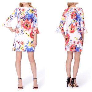 Tahari Floral Bell Sleeve Shift Dress Sz 8